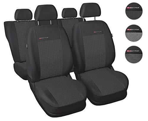 Carpendo Sitzbezüge Auto Set Autositzbezüge Schonbezüge Dunkelgrau-Grau Vordersitze und Rücksitze mit Airbag System - Elegance P1