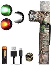 NICRON Led-zaklamp, USB C, oplaadbaar, 90 graden draaibaar, 1200 lumen, wit licht, 10 lumen, rood licht, IP65 waterdicht, voor jacht, outdoor, met magneet en 18650 oplaadbare batterij