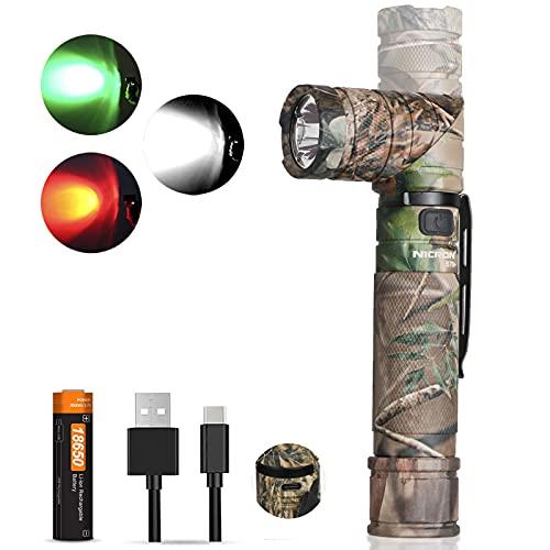 NICRON LED Taschenlampe USB C Aufladbare 1200 Lumen, 90 Grad Drehbar Kopf, 10 Lumen Rotlicht, IP65 Wasserdicht für Jagd Outdoor mit Magnet, 18650 Wiederaufladbar Batterie inklusive B70P