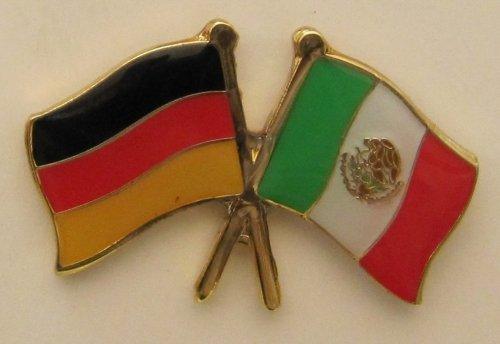 Mexiko / Deutschland Fre&schafts Pin Anstecker Flagge Fahne Nationalflagge Doppelpin Flaggenpin Badge Button Flaggen Clip Anstecknadel