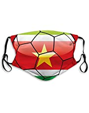 FULIYA Mode Herbruikbare Wasbare Gezichtsdekking Unisex,voor Motorfiets Fiets Hardlopen Fietsen en Buiten,Met Filter,Suriname Vlag Op Voetbalbal