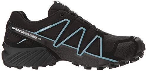 Salomon Women's Speedcross 4 GORE-TEX Trail Running Shoes, Black/Black/Metallic Bubble Blue, 8 M US