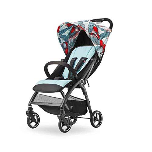 Kinderwagen Compact Single Wandelwagen Ultraklein Opvouwbare Luxe wandelwagen met Mand kunnen worden geplaatst in het vliegtuig wandelwagen 17 × 30,9 × 41 inch (Color : Flowers and birds)