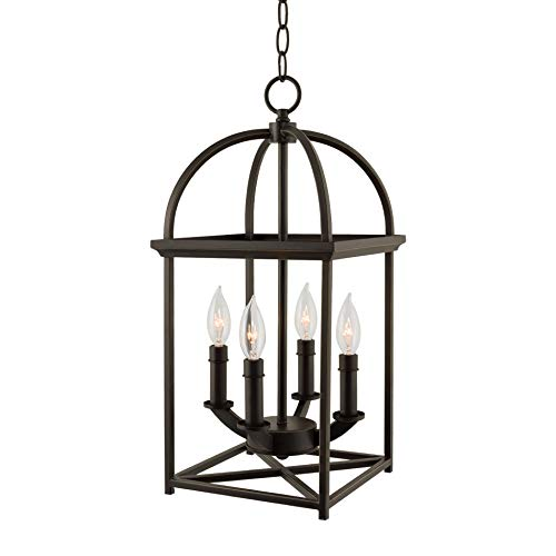 "Kira Home Amesbury 21"" Foyer Lantern 4-Light Chandelier, Bronze Finish with Hand-Painted Gold Trims"