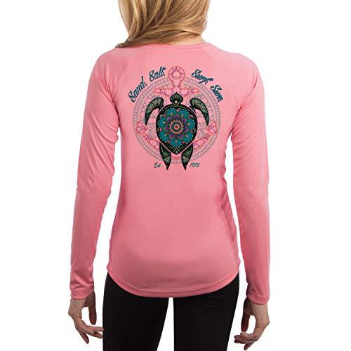 SAND.SALT.SURF.SUN. Mandala Turtle Women's UPF 50+ UV Sun Protection Performance Long Sleeve T-Shirt XX-Large Pretty Pink