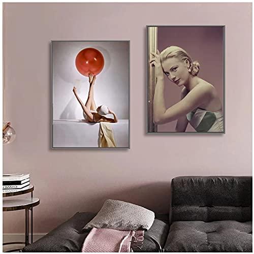 Chifang Hermosa bola de ballet de yoga mujer moderna pared arte lienzo pintura póster modular para sala de estar decoración del hogar - 50 x 70 cm x2 sin marco