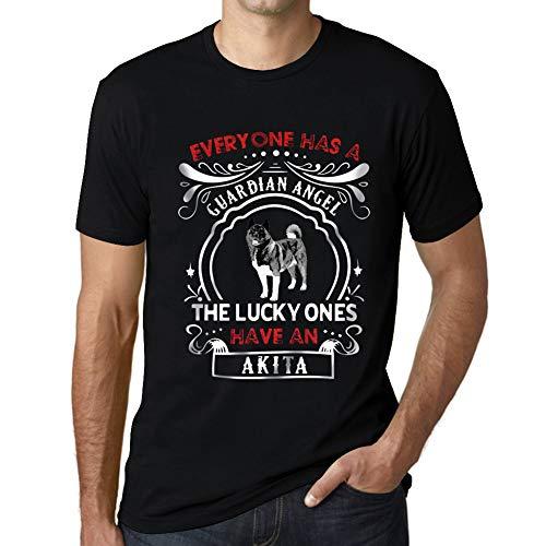 Hombre Camiseta Vintage T-Shirt Akita Dog Negro Profundo