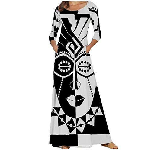 Shineshae Damen Maxikleid Langarm Freizeitkleidung Oversize Pullikleid Longshirt Top Minikleid Taschen Sommerkleid Lange Kaftan Kleider(Positionieren des Drucks)
