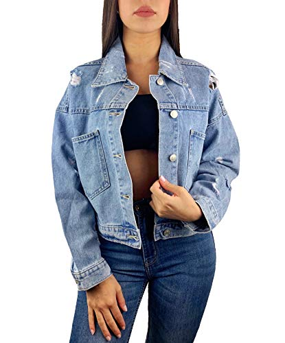 Worldclassca Damen Jeansjacke Oversized Rissen Crop KNOPF Jeans Denim Jacket Vintage KURZ Used Stone WASH ÜBERGANGSJACKE Blogger DENIMWEAR Fashion BLAU Denim Destroyed Cut Out Look S-L NEU (L, Blau)
