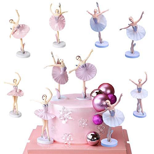 SUNSK Tortendeko Ballerina Geburtstagstorte Dekoration Ballerina Kuchen Topper für Kinder Party Dekoration Mädchen Geburtstag Geschenk Zimmer Ornament 6 Stück