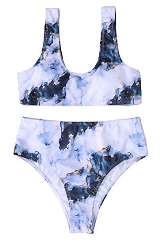 BISSOMMER Tankini Swinsuit for Women,High Waisted Two Piece Swinwear,Tummy Control Bathing Suit