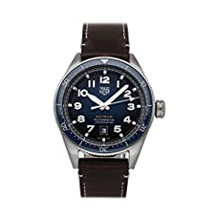 Tag Heuer Autavia (WBE5116.FC8266) self - winding automatic watch features a 42mm stainless steel case surrounding a gradient smoked blue dial on a brown leather strap with a stainless steel tang buckle. Functions include hours minutes seconds and da...