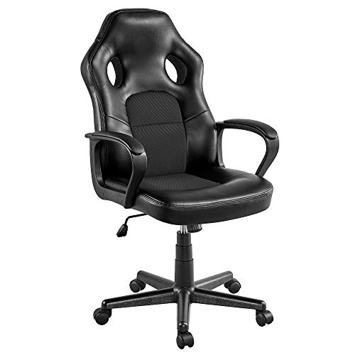 Yaheetech Gaming Chair High Back Ergonomic Racing Chair Office Reclining Chair Swivel Chair Black