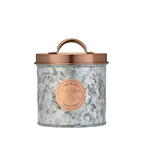 Amici Home Bristol Storage Canister Metal Can, 52 Fluid Ounces, Galvanized and Copper
