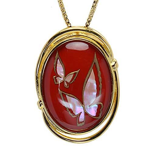 真珠の杜 水晶 ネックレス クォーツ SV925 シルバー925 銀 漆 蝶 朱色 赤色 金色 ペンダント レディース 誕生石 4月 dpn658-640gps