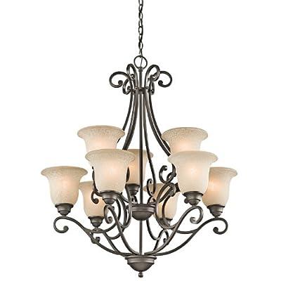 "Kichler 43226OZ Camerena Large Chandelier Lighting, Olde Bronze 9-Light (30"" W x 35"" H) 900 Watts"