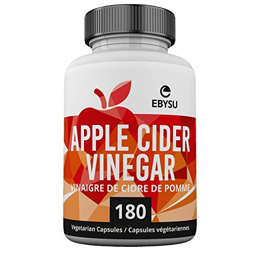 EBYSU Apple Cider Vinegar Capsules - 180 Count - Extra Strength Appetite Suppressant Pills for Weight Loss - Cleanse & Detox Diet Supplement for Men and Women - ACV