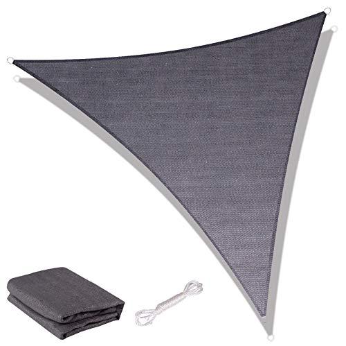 SUNNY GUARD Toldo Vela de Sombra Triangular 5x5x7m HDPE Transpirable protección UV para Patio, Exteriores, Jardín, Color Antracita