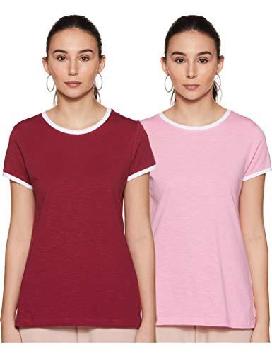 Amazon Brand - Symbol Women's Regular T-Shirt (Pack of 2) (SYMSS20TS035A_Lavendar+Wine Small)