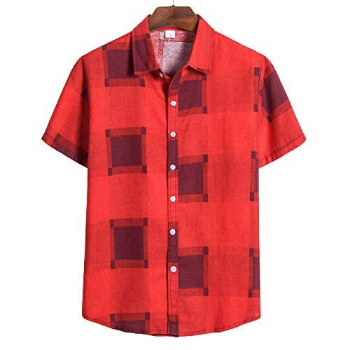 Camisa de Manga Corta con Solapa de Talla Grande para Hombre Camisa clásica Informal de un Solo Pecho Moda de Calle Bloqueo de Color Camisa Regular Informal 3XL