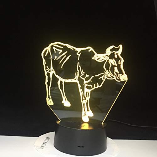 Lámpara de Bombilla de Cambio de Color de Producto Nuevo Caliente Lámpara de ilusión de Ganado Buffalo Juguete de Personaje Animal Creativo