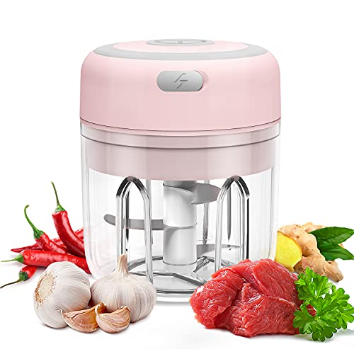 Electric Mini Garlic Chopper, Food Slicer And Chopper 250ML, Kuopry Blender to Meat/Vegetables/Chop Fruits/Onion/Garlicr, Wireless Portable Food Processor, Mini Chopper Food Processor-Pink