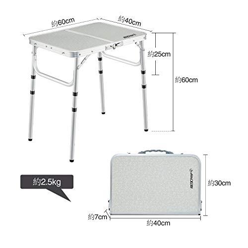 REDCAMPアウトドアテーブル折りたたみコンパクト幅60×奥行40×高さ26/48/60cm3段調整可能ピクニックローアルミ作業テーブルガーデン小型軽量持ち運び