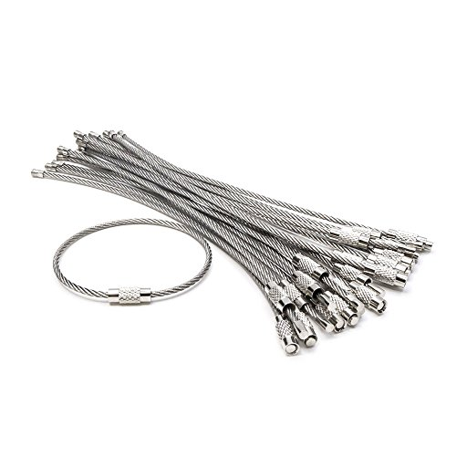 Cable Key Rings,20Pcs Wire Keychains, Key Ring 2.0mm Cable Loops 6 inches Stainless Steel Gear for Hanging Luggage Tag, Keyrings, ID Tag Keepers.