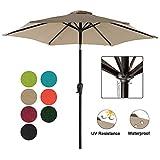 COBANA 7.5 ft Patio Umbrella Outdoor Table Market Umbrella with Push Button Tilt and Crank, 6 Ribs, Beige