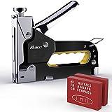 Grapadora Manual,Haice 3 en 1 Pistola de Grapas Profesional, Tacker de 3 vías con 600 Grapas para Material de Fijación, Decoración, Carpintería, Muebles, Puertas y Ventanas, Vallas Publicitarias