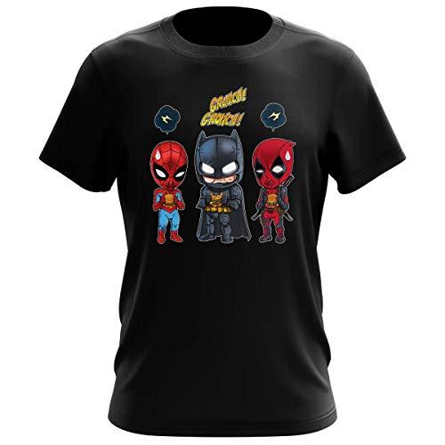 T-Shirt Homme Noir Parodie Avengers - Batman, Deadpool et Spider-Man - Un léger problème de Conception au Niveau du Masque. (T-Shirt de qualité Premium de Taille S - imprimé en France)