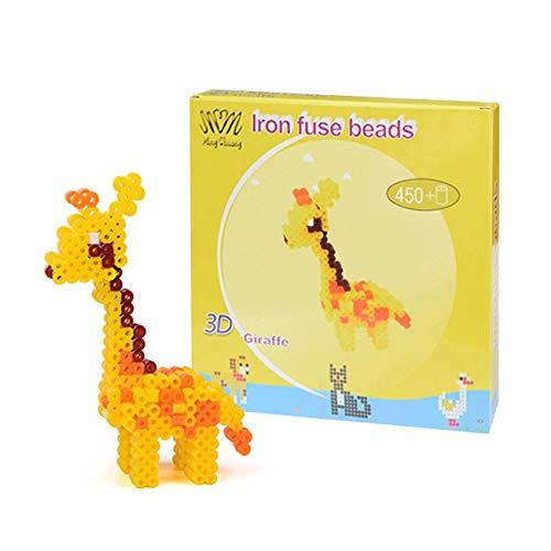 QIXINHANG LIHAO Bügelperlen Geschenkpackung Steckperlen mit Stiftplatten Zubehör für Kinder Giraffe Spielzeug, 5mm, 450 Stück (MEHRWEG)