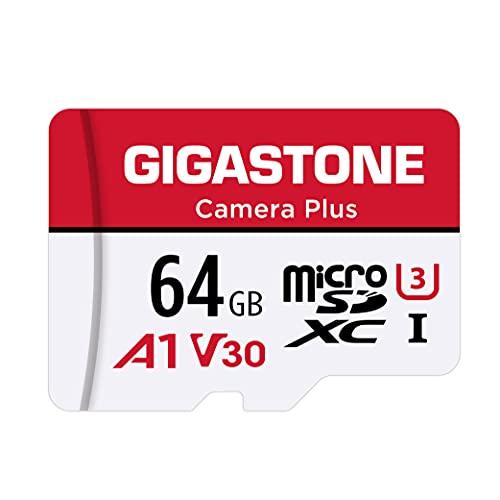 Gigastone Kamera Plus 64GB MicroSDXC Speicherkarte + SD Adapter, für Action-Kamera Drohne & Tablet, Lesegeschwindigkeit bis zu 95MB/s, Full HD-Videoaufnahme, A1 U3 Klasse 10 Micro SD Karte UHS-I