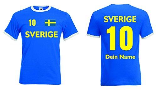 Sverige Retro Trikot mit Wunschname & Nummer von S-XXL|rb-l