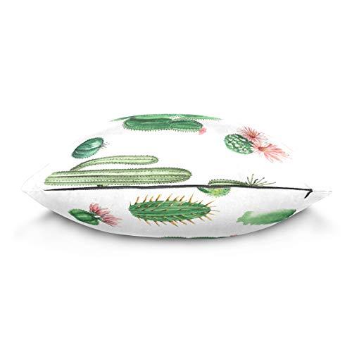 XiangHeFu Art Plant Succulent Cactus Pillow Case Cushion Cotton Velvet Throw Pillow Cover 20x20 Inch
