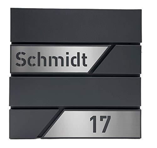 Personalisierter Design-Briefkasten individuell mit Name/anthrazit mit personalisierten Edelstahl-Schildern