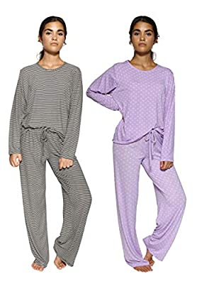 2 Pack: Womens Striped Pajama Sets Ladies Soft Winter Fall Sleepwear Pajamas Clothes Loungewear Long Sleeve Tops Pants Christmas Pj Sets for Women - Set 5 Medium