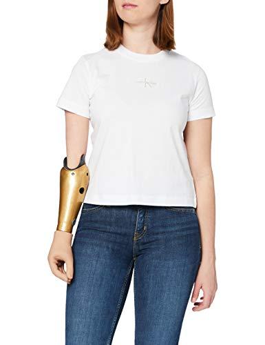 Calvin Klein Jeans Monogram Logo tee Camiseta, Blanco Brillante, XL para Mujer