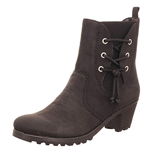Rieker Damen Stiefeletten Y8059, Frauen Stiefelette, Women's Woman Freizeit leger Stiefel Boot halbstiefel winterschuh,schwarz,40 EU / 6.5 UK