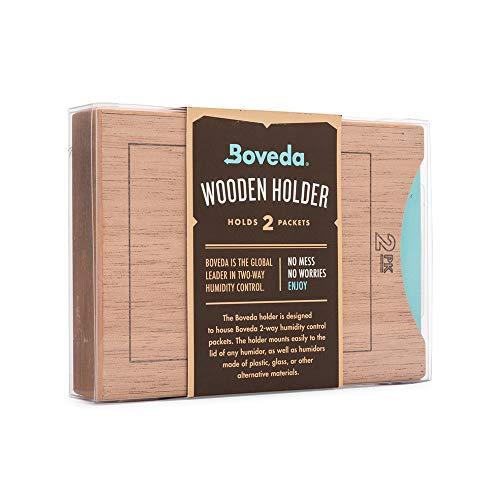 Boveda für Zigarren | Boveda-Halter aus Holz für Humidor | Zur Verwendung bei zwei (2) Boveda der Größe 60 übereinander (separat erhältlich) | mit Magnet- und Velcro®-Befestigungssets | 1 Stück