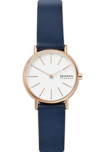 Skagen SKW2838 Signatur Uhr Damenuhr Lederarmband vergoldet 3 bar Analog blau
