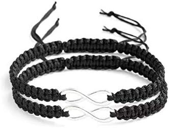 2PC Set Stainless Steel 8 Infinity Couple Bracelet Handmade Adjustable Braided Rope Bangle Wrist product image