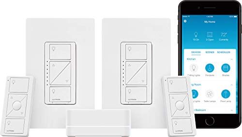 Lutron Caseta Wireless Smart Lighting Dimmer Switch (2 count) Starter Kit, P-BDG-PKG2W-A, Works with Alexa, Apple HomeKit, and the Google Assistant
