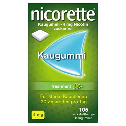 NICORETTE Kaugummi 4mg freshmint – Nikotinkaugummi zur Raucherentwöhnung – Minzgeschmack – mit 4mg Nikotin – Rauchen aufhören