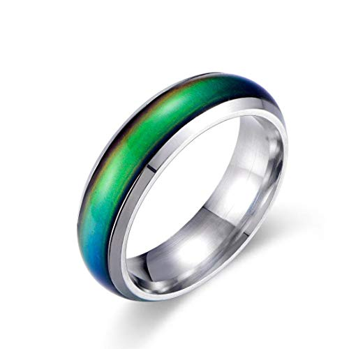 Ello Elli 6MM Color Changing Stainless Steel Mood Ring (Silver, 8)