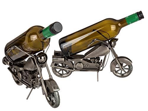 Weinflaschenhalter Flaschenhalter Getränke Halter Wein Motorrad Biker Chopper Metall Deko Geschenk-Idee Skulptur (Motorradfahrer III)