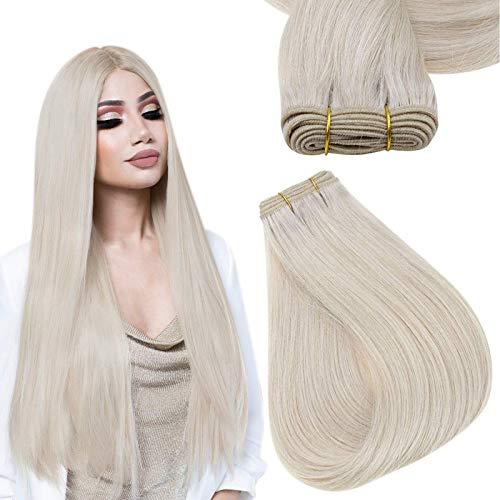 Easyouth Tissage Naturel Cheveux Humain Brazilian Hair Bundles Couleur Unie Blonde Bleach Tissage Bresilien Hair Extensions Cheveux Naturel Tissage 70g 12pouce