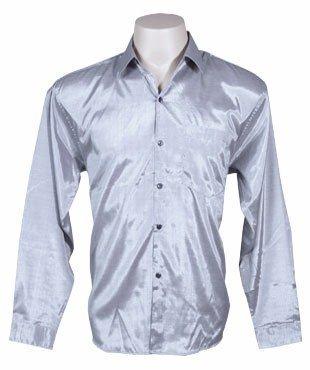 Chemise en soie thaïlandaise hommes à Manche Longue / argenté Taille XL
