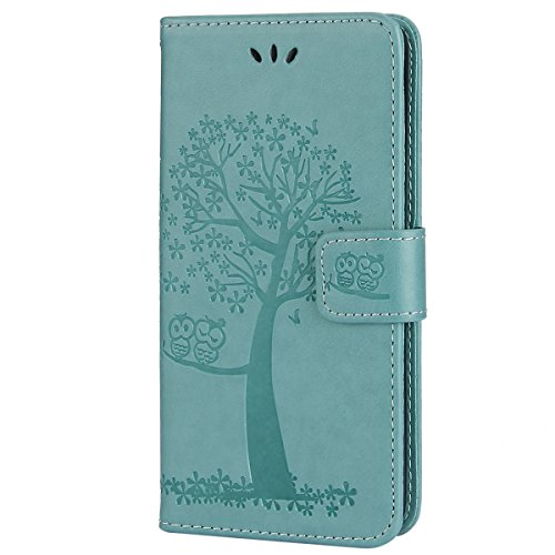 EUWLY Kompatibel mit Galaxy S7 Hülle Handyhülle Baum Eule Bookstyle LederHülle Ledertasche Klappbar Handy Schutzhülle Handy Tasche Leder Flip Case Cover Mit Magnetverschluß,Grün