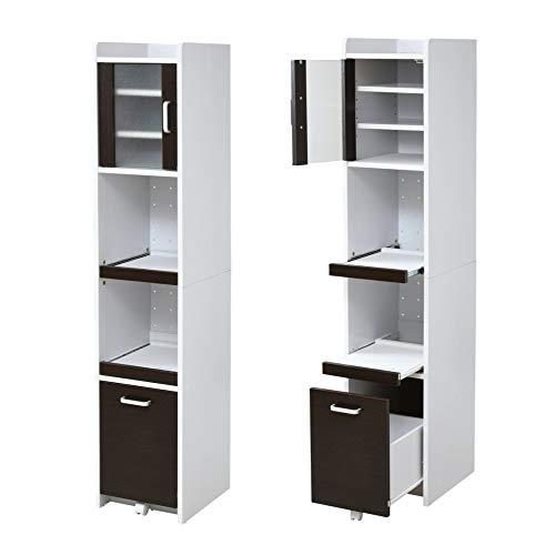 おしゃれな 隙間収納ラック 家電ラック 幅30 高さ160 キッチン ミニ 食器棚 ホワイト×ダークブラウン